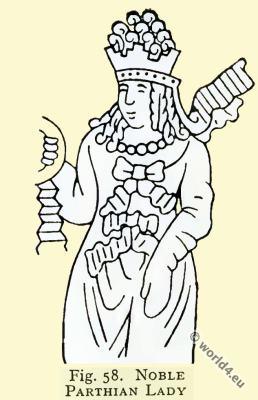 Ancient Parthian costumes. Asian minor clothing. Parthian nobel lady.