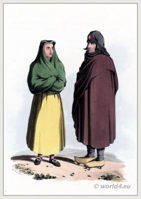 Corregimiento of Toro costumes, Montero cap, Wooden shoes. Castile and León. Traditional Spanish clothing. The Peninsula War.