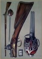 Scottish hero Rob Roy. Andrea Ferrara blade and old flint-lock gun.