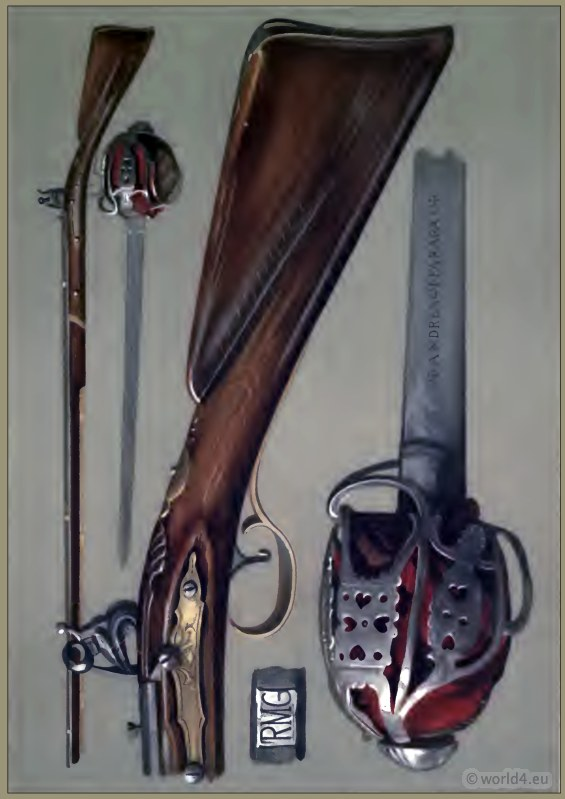 Scottish hero Rob Roy. Andrea Ferrara blade and old flint-lock gun.