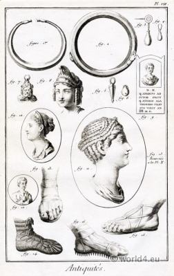 Antique Roman Antiquities jewelry hairstyle, footwear