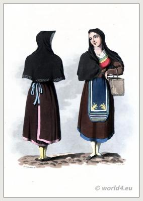 Salamanca Castile and León. Traditional Spanish national costumes. Salamanca dress and clothing. The Peninsula War.