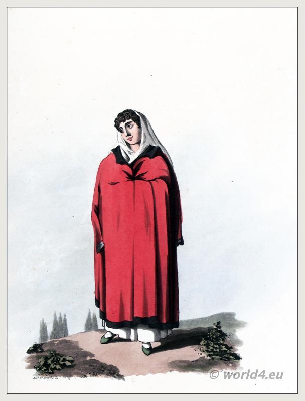 Lisbon fashion. Traditional Portuguese national costumes. Peninsula war.
