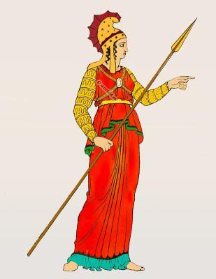 Amazon. warrior. Greek spear. Ancient female soldier. weapons