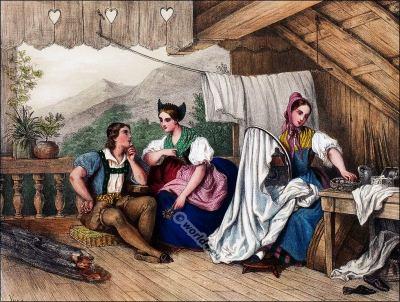 Appenzelle, Costumi nazionali svizzeri, Switzerland National Costumes, Suisse Costumes nationaux,