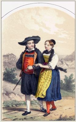 Traditional Switzerland national costumes. Swiss folk dresses. Clothing from the Canton of Schaffhouse.