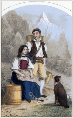 Traditional Switzerland national costumes. Swiss folk dresses. Clothing from Canton of  Bern