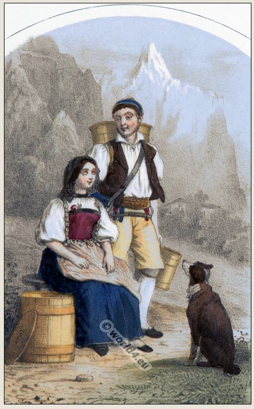 Traditional Switzerland national costumes. Swiss folk dresses. Clothing from the Canton of Berne.
