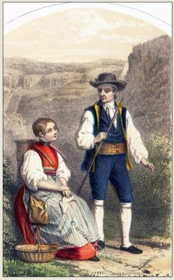 Traditional Switzerland national costume. Swiss folk costumes. Clothing from Canton of Bern