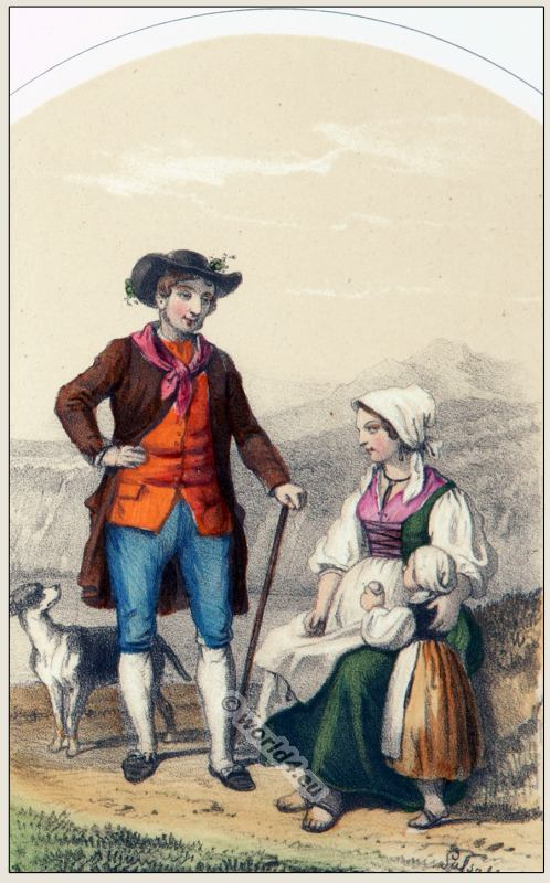 Traditional Switzerland national costumes. Swiss folk dresses. Clothing from the Canton of Tessin.