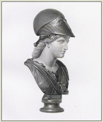 Bust of Minerva. Ancient Roman Sculpture. Roman Goddess with Headdress, helmet.
