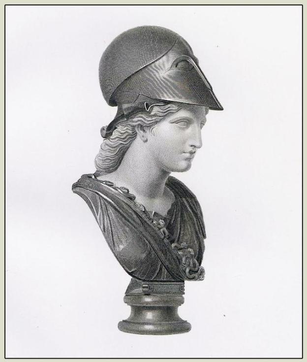 Minerva with helmet. Ancient Roman costume
