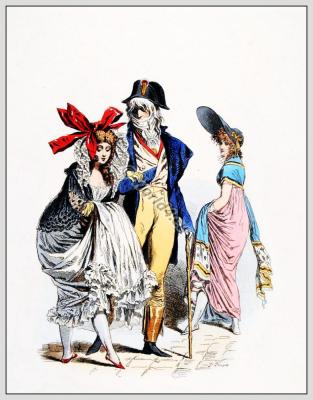 Merveilleuses et Incroyables. French Revolution costumes. Directory fashion. Regency costumes