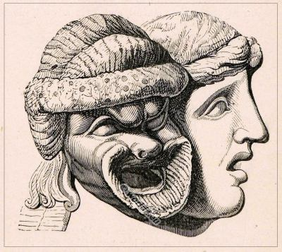 Ancient Roman Theatre Masks. Greek cult of Bacchus. Caricature, Cartoon mask