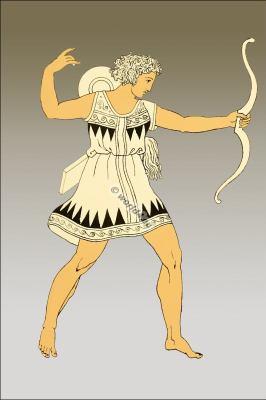 Amazon soldier. Ancient female warrior. Greek costume.