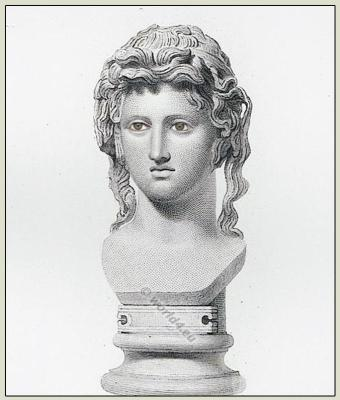 Bust of a Bacchante. Ancient greek sculpure. antique greece hairstyle.