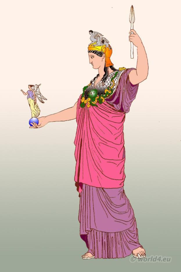 Pallas Athena, Phidias, Ancient Greek, costume,Greece, clothing himation, diplax,