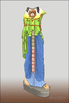 Greece Statue of Athene with chiton, peplos and diploidion. Ancient Greek costumes