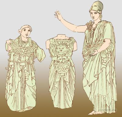 Ancient Greek costume. Goddess Pallas Athena wearing aegis with Gorgon