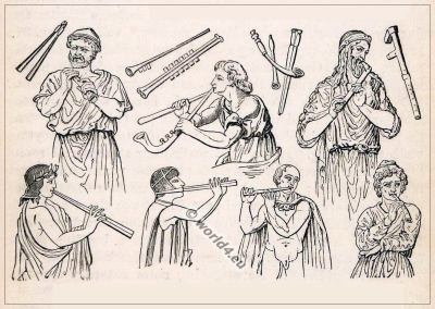 Ancient Greece music instruments, flutes. Greek costumes