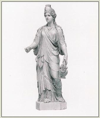 Ancient Roman Statue of Ceres, or Isis in long tunic. Long sleeved Tunica, Chiton. Female Clothing in the ancient world