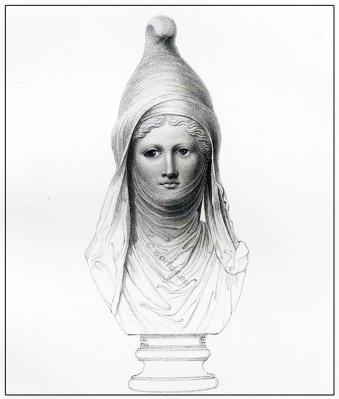 Ancient persian head-dress Cidaris. Asiatic sculpture. Portrait of Adonis, Bacchus