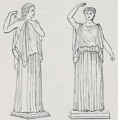 Ancient Greek costume tunica. Ionic, Dorian Chiton.
