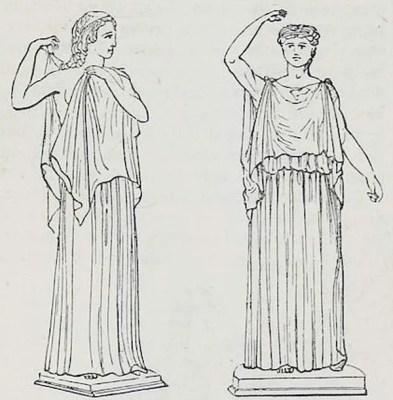 Ancient Greek costume tunica. Ionic, Dorian Chiton.