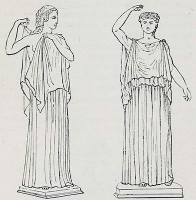 Greek clothing tunica. Ionic, Dorian Chiton. Ancient costumes