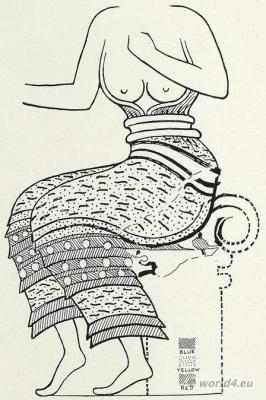 Ancient Greece Minoian costume. The Palace of Minos at Knossos.
