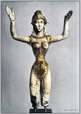Our lady of sports. Ancient Minoan costume. Knossos sculpture. Ancient Greek costume
