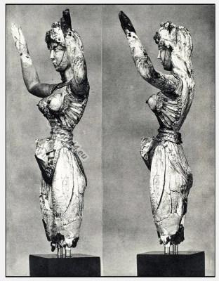 Ancient Minoan Goddess Costumes. Corset, male loin. Knossos, Crete Figurine, sculpture
