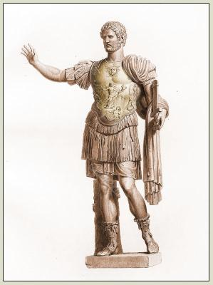 Statue of Hadrian. Ancient Roman Costume. Rome Emperor in armor