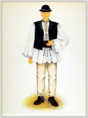 Romanian Săliște Sibiu folk costume. Romania national costumes. Traditional embroidery patterns