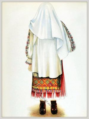 Romanian Hateg folk costume. Romania Transylvania national costumes. Traditional embroidery patterns