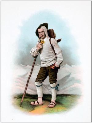 Traditional Switzerland national costumes. Swiss folk dress. Canton Uri clothing