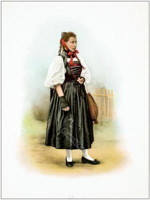 Traditional Switzerland costumes. Swiss folk dress Canton of Basel