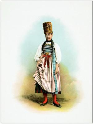 Traditional Switzerland national costumes. Swiss folk dresses. Wedding dress from the Canton of Schaffhausen.