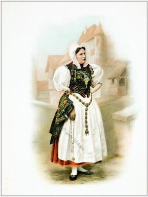 Traditional Switzerland national costumes. Swiss folk dresses. Clothing from the Canton of Solothurn.