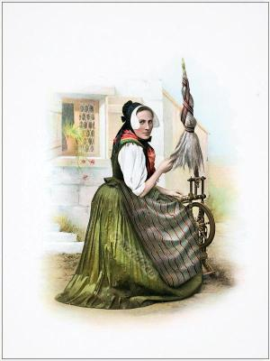 Traditional Switzerland costume. Swiss folk costume. Clothing Canton of Clarus