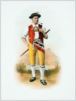 Appenzell. Innerrhoden. Traditional Switzerland national costume. Swiss folk costume.