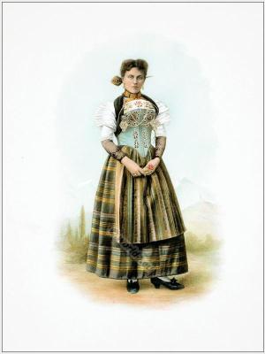 Traditional Switzerland costumes. Swiss folk dress Canton of Nidwalden