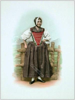 Traditional Switzerland costumes. Swiss folk dress Canton of Appenzell