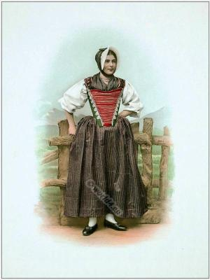 Traditional Switzerland costumes. Swiss folk dress Canton of Appenzell