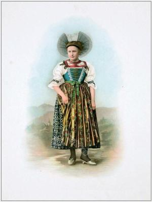Traditional Switzerland national costumes. Swiss folk dresses. Clothing from Canton of St. Gallen.