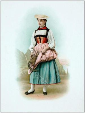 Traditional Switzerland national costume. Swiss folk costume. Clothing from Canton of Berne