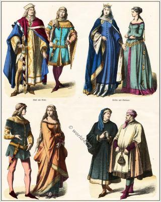 German medieval clothing. 14th century. Gothic costumes. Burgundian, Burgundy