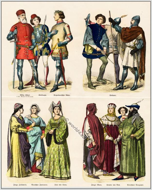 Medieval Italian 14th century clothing