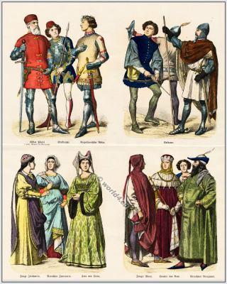 Italian 14th century clothing. Burgundy, Gothic costumes. Middle ages fashion era.