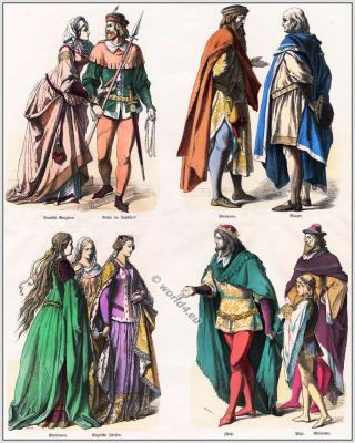 Medieval clothing. Castle woman, knight in hunting dress, Nobleman, English noblewomen, English princess.  English prince and Page.